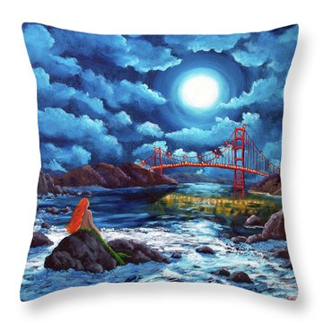 Mermaid At The Golden Gate Bridge  Throw Pillow by Laura Iverson