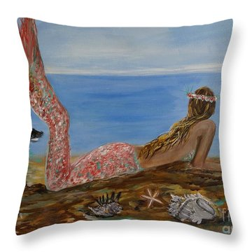 Mermaid Beauty Throw Pillow by Leslie Allen