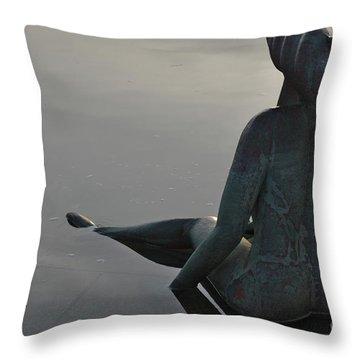 Mermaid Bronze Statue In The Faro Marina Throw Pillow