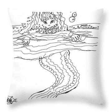 Mermaid Bubblebath Bw Throw Pillow