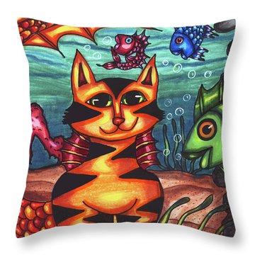 Mermaid Cat Fish Sealife Art Throw Pillow