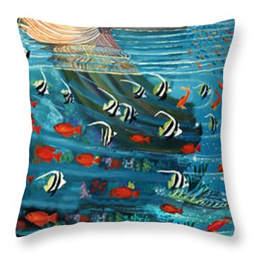 Mermaid In Paradise Throw Pillow