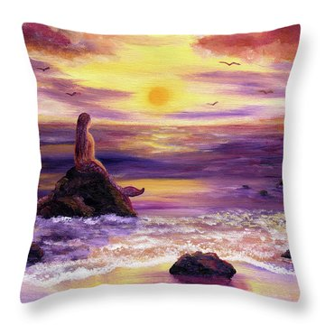 Mermaid In Purple Sunset Throw Pillow