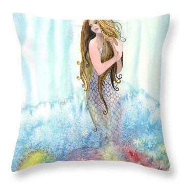 Mermaid In The Mist Throw Pillow