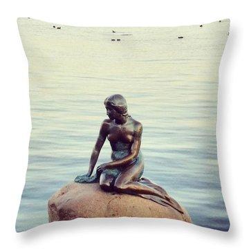 Peaceful Mermaid  Throw Pillow