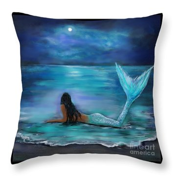 Mermaid Moon And Stars Throw Pillow by Leslie Allen