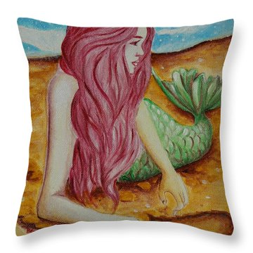 Mermaid On Sand With Heart Throw Pillow by Beryllium Canvas
