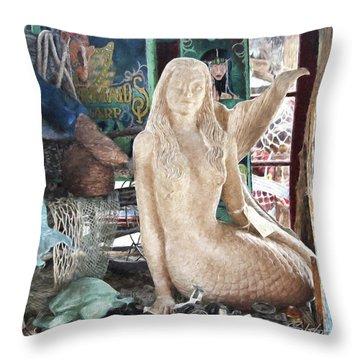 Mermaid Pondering Throw Pillow