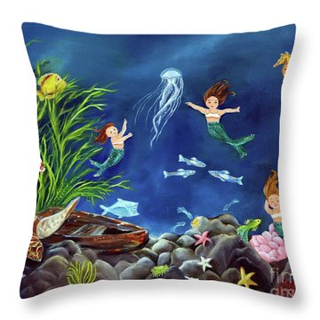Throw Pillow featuring the painting Mermaid Recess by Carol Sweetwood