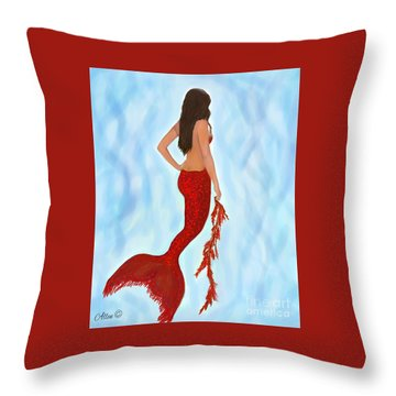 Throw Pillow featuring the painting Mermaid Ruby by Leslie Allen