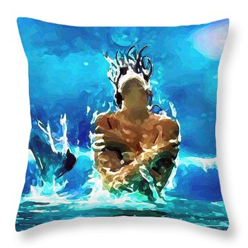 Mermaid Under The Moonlight Throw Pillow