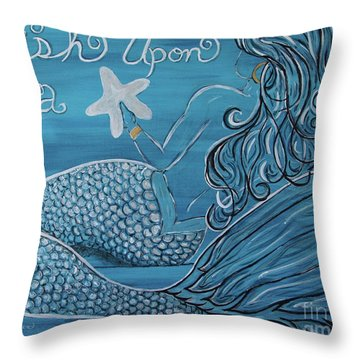 Mermaid- Wish Upon A Starfish Throw Pillow by Megan Cohen