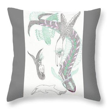 Mermaids And Sea Dragons Throw Pillow