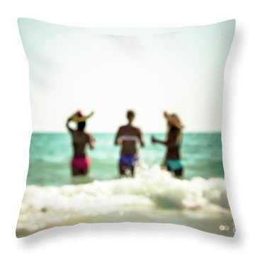 Throw Pillow featuring the photograph Mermaids by Hannes Cmarits