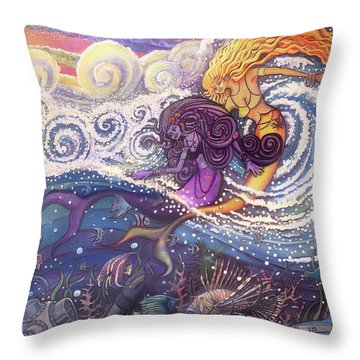 Mermaids In The Surf Throw Pillow