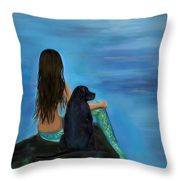 Throw Pillow featuring the painting Mermaids Loyal Bud by Leslie Allen