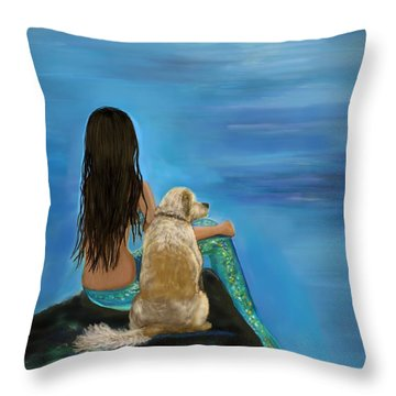 Throw Pillow featuring the painting Mermaids Loyal Buddy by Leslie Allen