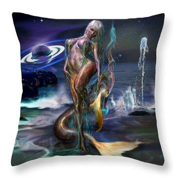 Mermaids Moon Light Throw Pillow