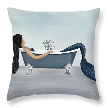 Throw Pillow featuring the painting Mermaids Relaxing Retreat by Leslie Allen