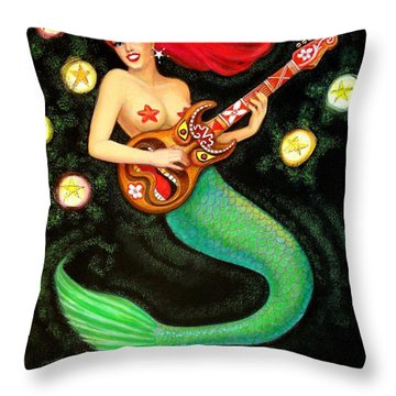 Mermaids Rock Tiki Guitar Throw Pillow
