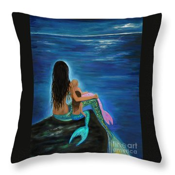 Throw Pillow featuring the painting Mermaids Sweet Little Girls by Leslie Allen