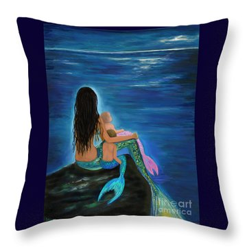 Throw Pillow featuring the painting Mermaids Sweet Little Ones by Leslie Allen