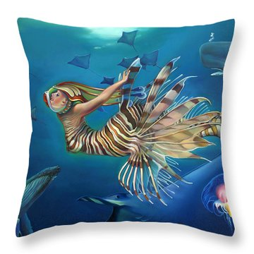 Mermalien Odyssey Throw Pillow by Patrick Anthony Pierson