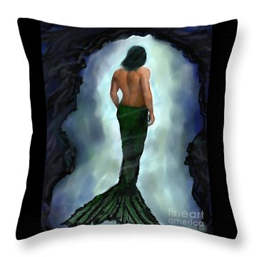 Throw Pillow featuring the painting Merman Below by Leslie Allen