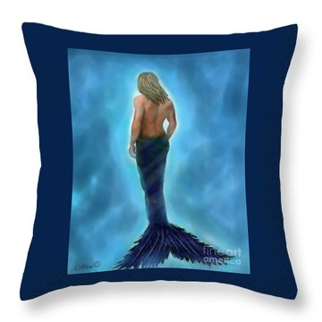 Throw Pillow featuring the painting Merman Majestic by Leslie Allen