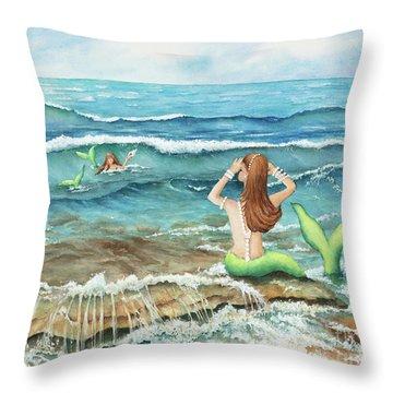 Mermomma Of Two Throw Pillow