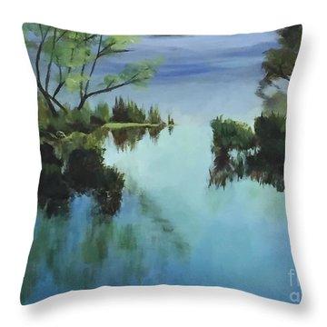 Merrimack River At Sunset Throw Pillow