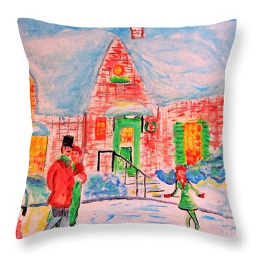 Merry Christmas And Happy Holidays Throw Pillow