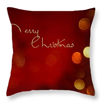 Merry Christmas Card - Bokeh Throw Pillow by Aimelle