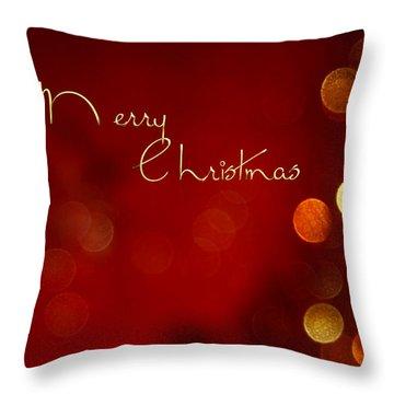 Merry Christmas Card - Bokeh Throw Pillow
