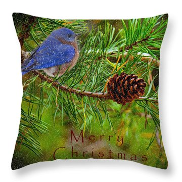 Merry Christmas Card With Bluebird Throw Pillow