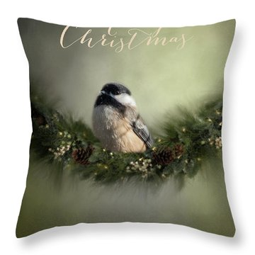 Merry Christmas Chicadee 1 Throw Pillow