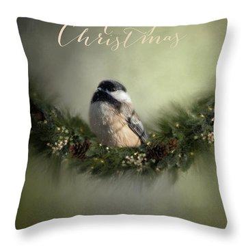 Merry Christmas Chicadee 1 Throw Pillow