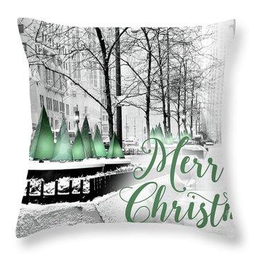 Merry Christmas Chicago Throw Pillow