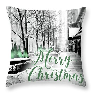 Merry Christmas Chicago Throw Pillow