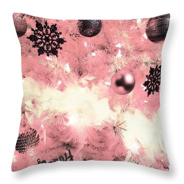 Merry Christmas In Pink Throw Pillow