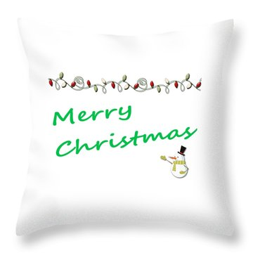 Merry Christmas Little Snow Man On White 2 Throw Pillow