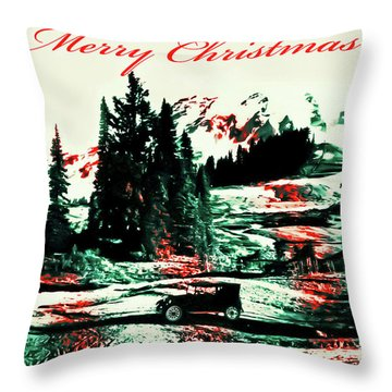 Merry Christmas Mount Rainier Throw Pillow