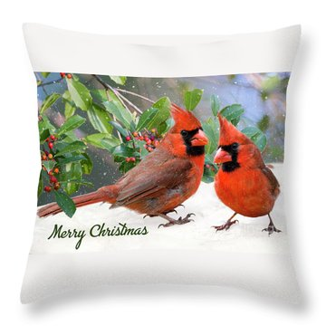 Merry Christmas Northern Cardinals Throw Pillow