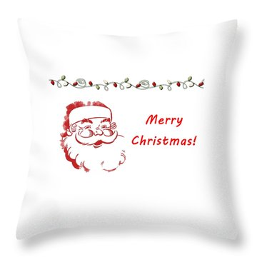 Merry Christmas Santa Claus Horizontal Throw Pillow