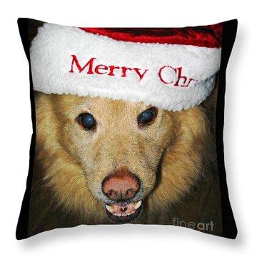 Merry Christmas Throw Pillow by Sarah Loft