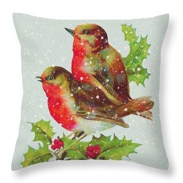 Merry Christmas Snowy Bird Couple Throw Pillow