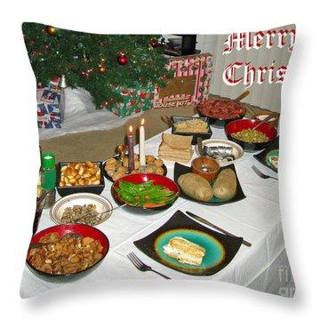 Merry Christmas- Traditional Lithuanian Christmas Eve Dinner Throw Pillow by Ausra Huntington nee Paulauskaite