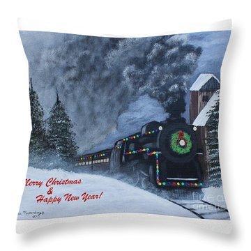 Merry Christmas Train Throw Pillow