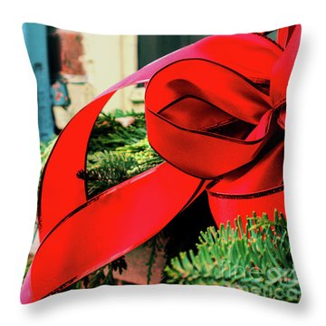 Merry Christmas Window Bow Throw Pillow