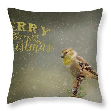 Merry Christmas Winter Goldfinch 1 Throw Pillow